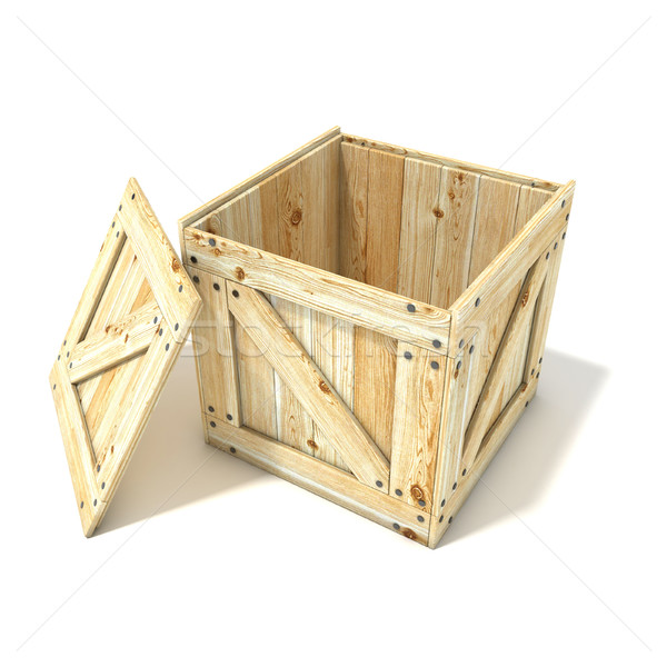 Opened wooden crate. Side view. 3D Stock photo © djmilic