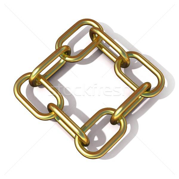 Abstract 3D illustration of a brass chain link Stock photo © djmilic