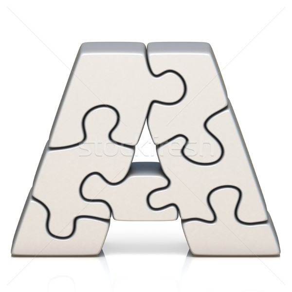 White puzzle jigsaw letter A 3D Stock photo © djmilic