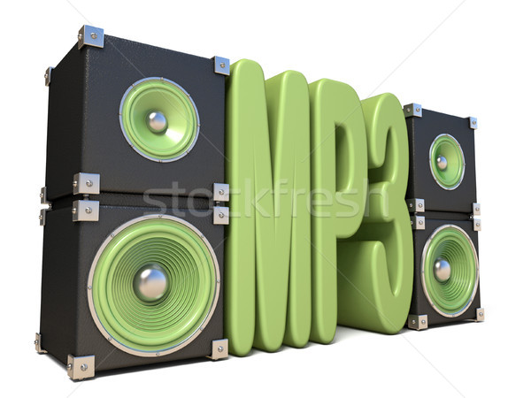 Two pairs of sound speakers MP3 3D Stock photo © djmilic