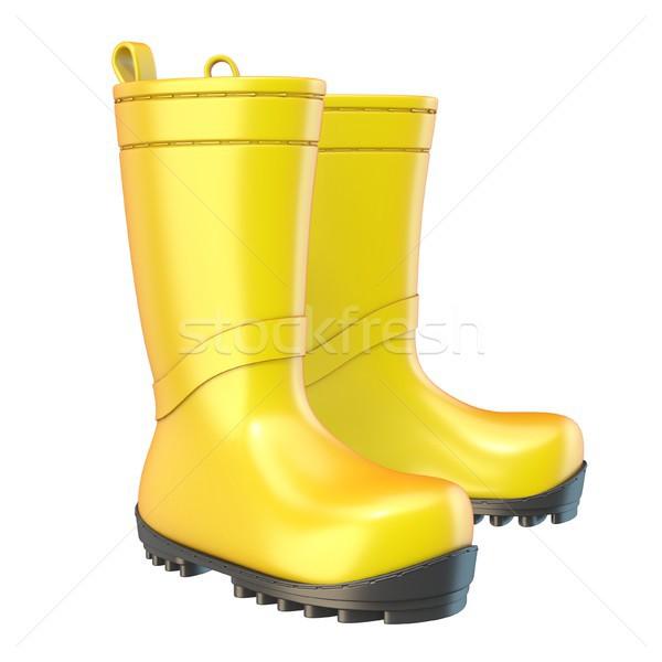 Yellow rain boots 3D Stock photo © djmilic