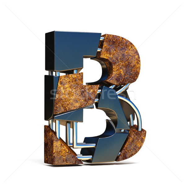 Black brown fracture font LETTER B 3D Stock photo © djmilic
