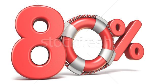 Salvagente 80 cento segno 3D rendering 3d Foto d'archivio © djmilic