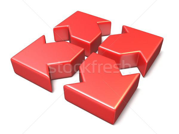 Red expanding arrows side view 3D Stock photo © djmilic