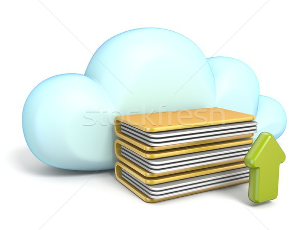 Cloud icon with upload arrow 3D Stock photo © djmilic