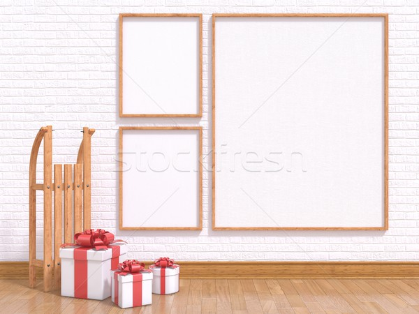 Mock up poster with wooden sledge and Christmas presents. 3D Stock photo © djmilic