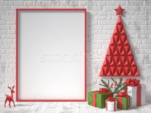 Сток-фото: вверх · фоторамка · Рождества · украшение · подарки · 3D