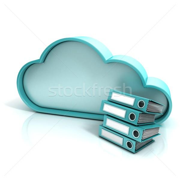 Felhő mappa 3D számítógép ikon izolált iroda Stock fotó © djmilic
