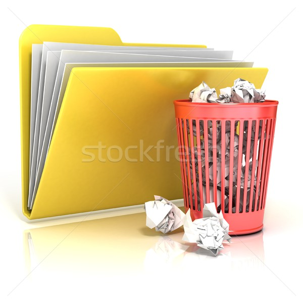 Stock photo: Full red recycle bin folder icon, 3D