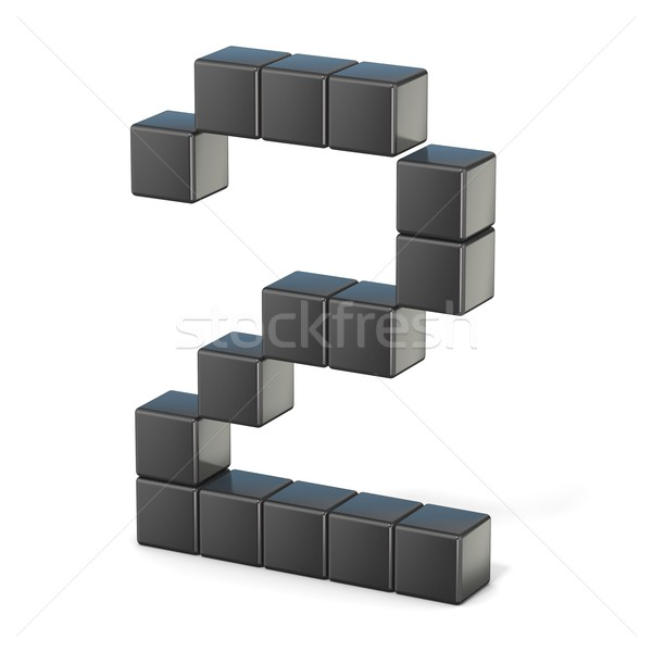 8 bit font. Number 2. 3D Stock photo © djmilic