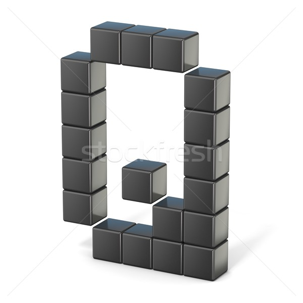 8 bit font. Capital letter Q. 3D Stock photo © djmilic
