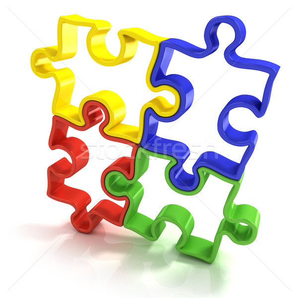 Four colorful outlined jigsaw puzzle pieces Stock photo © djmilic