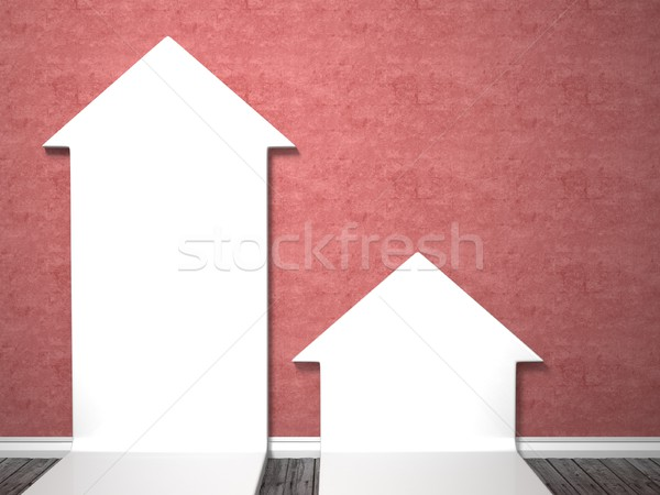Two arrow shape mock up posters on red wall, 3D Stock photo © djmilic