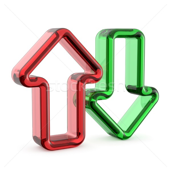 Cristal red and green arrows icon 3D Stock photo © djmilic