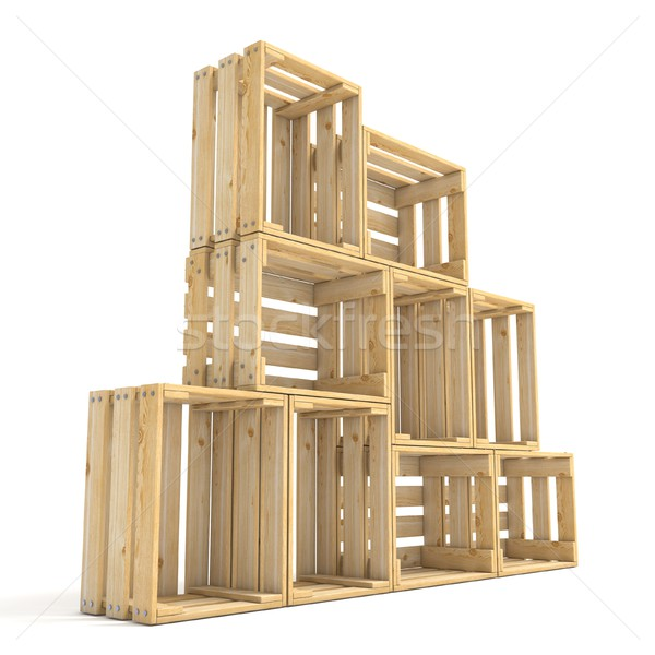 Empty wooden crates arranged Side view 3D Stock photo © djmilic