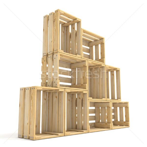 üres fából készült oldalnézet 3D 3d render illusztráció Stock fotó © djmilic