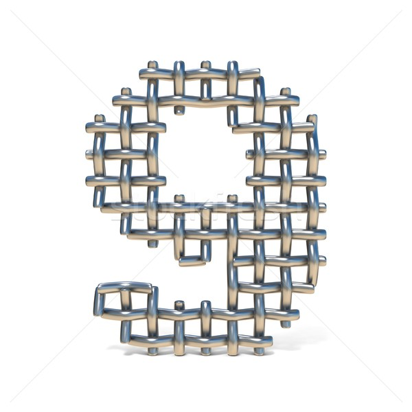 Metal wire mesh font Number 9 NINE 3D Stock photo © djmilic