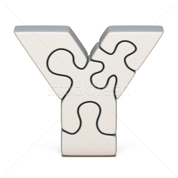 White puzzle jigsaw letter Y 3D Stock photo © djmilic