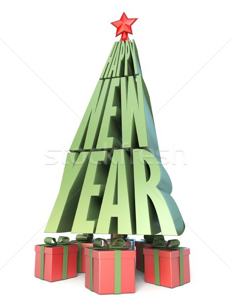 Abstract Christmas tree made of words HAPPY NEW YEAR and gifts u Stock photo © djmilic