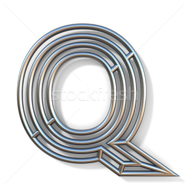 Wire outline font letter Q 3D Stock photo © djmilic