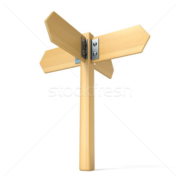 Wooden sign four ways 3D Stock photo © djmilic