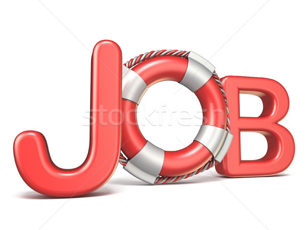 Life belt in JOB text 3D rendering illustration on white backgro Stock photo © djmilic