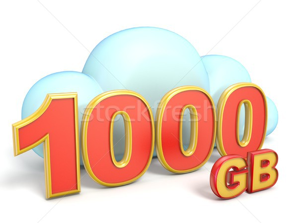 Chmura icon 1000 przechowywania pojemność 3D Zdjęcia stock © djmilic