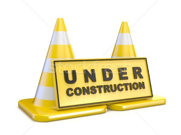 Citromsárga építkezés felirat kettő út 3d render Stock fotó © djmilic