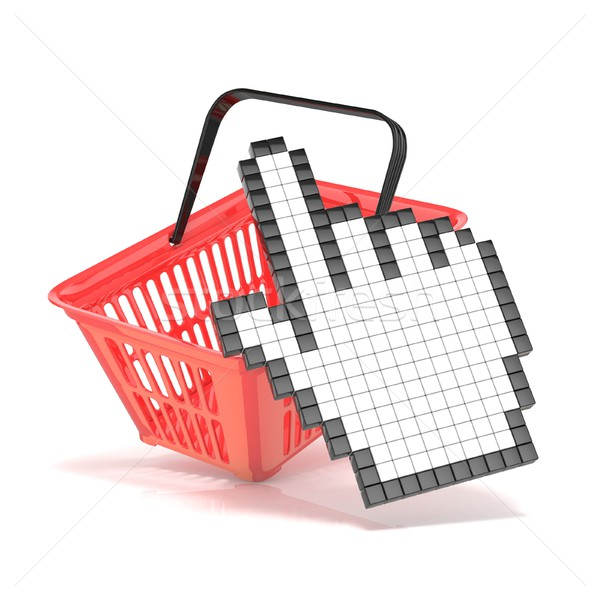 Shopping basket and pointing hand cursor. Internet commerce conc Stock photo © djmilic