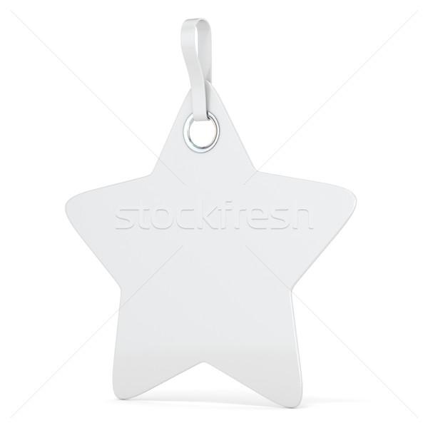 White plastic star label. Vertical. 3D Stock photo © djmilic