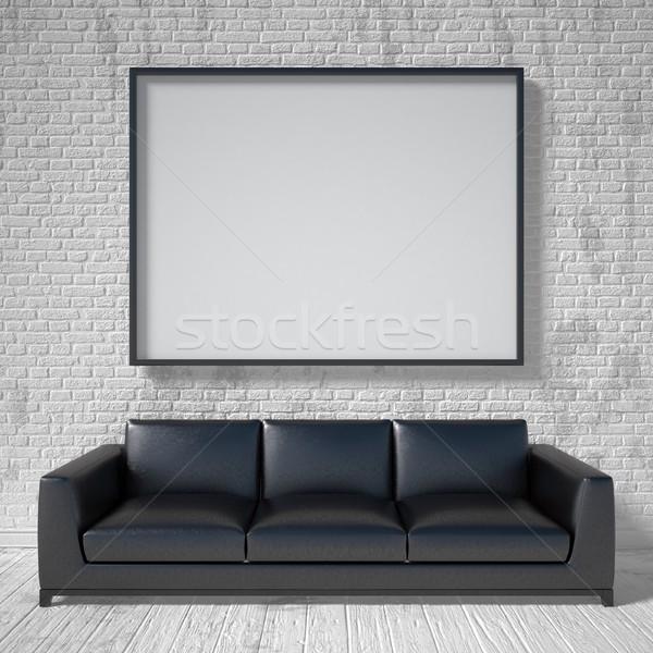 Mock up poster, black leather sofa. 3D Stock photo © djmilic