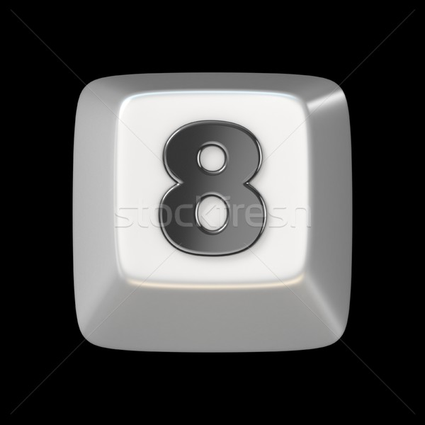 Számítógép billentyűzet kulcs szám nyolc 3D 3d render Stock fotó © djmilic