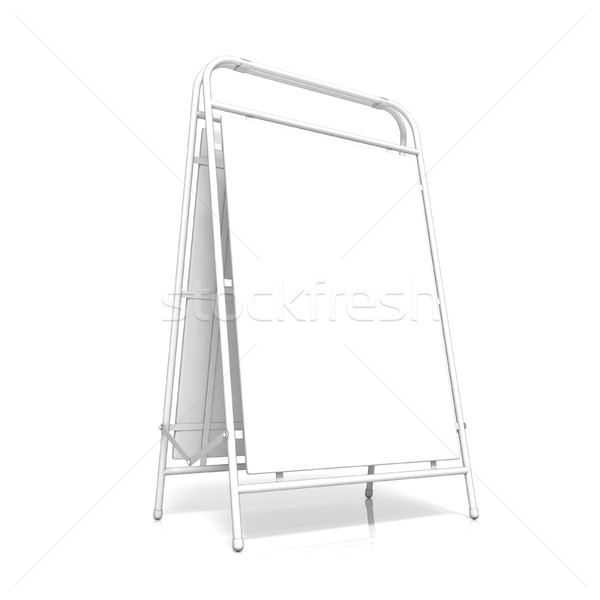 White advertising stand, with copy space board. Side view. 3D Stock photo © djmilic