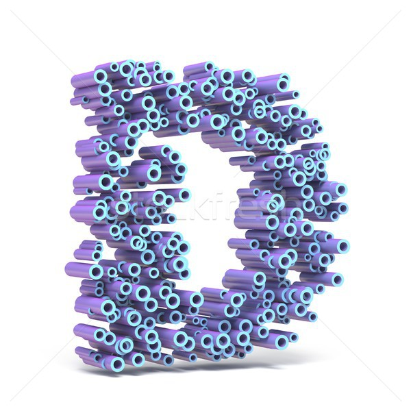 Purple blue font made of tubes LETTER D 3D Stock photo © djmilic