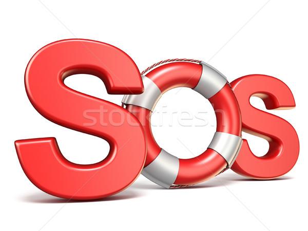 SOS sign with lifebuoy 3D Stock photo © djmilic