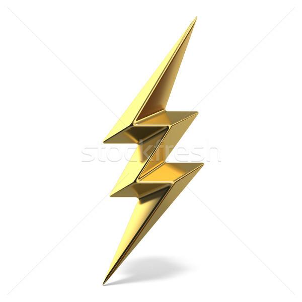 Golden lightning triple symbol two sides sharp 3D Stock photo © djmilic