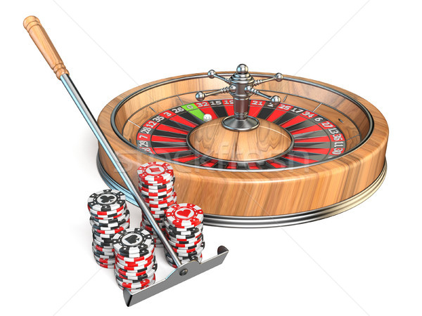 Ruleta casino rastrillo juego chips 3D Foto stock © djmilic