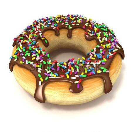 Stock photo: Chocolate donut with sprinkles