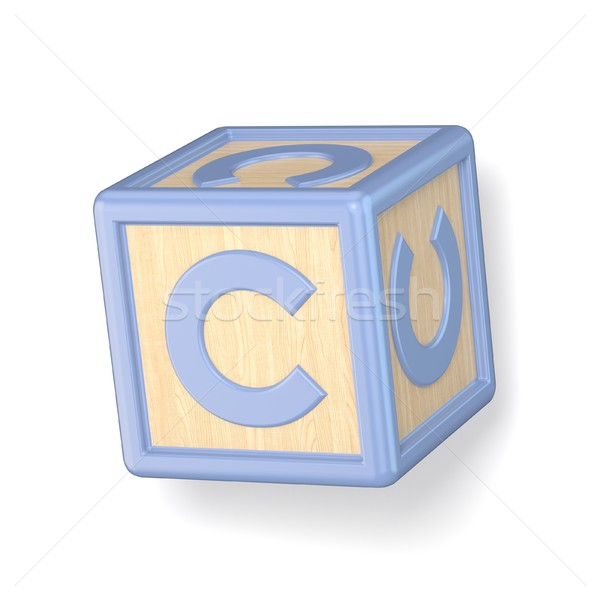 Letter C wooden alphabet blocks font rotated. 3D Stock photo © djmilic