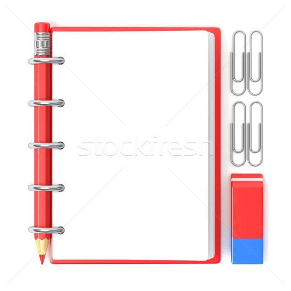 Blank notepad, pencil, rubber and paperclips. 3D Stock photo © djmilic