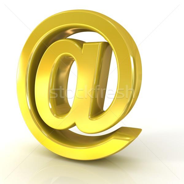 E-mail sign, at symbol, 3D golden Stock photo © djmilic
