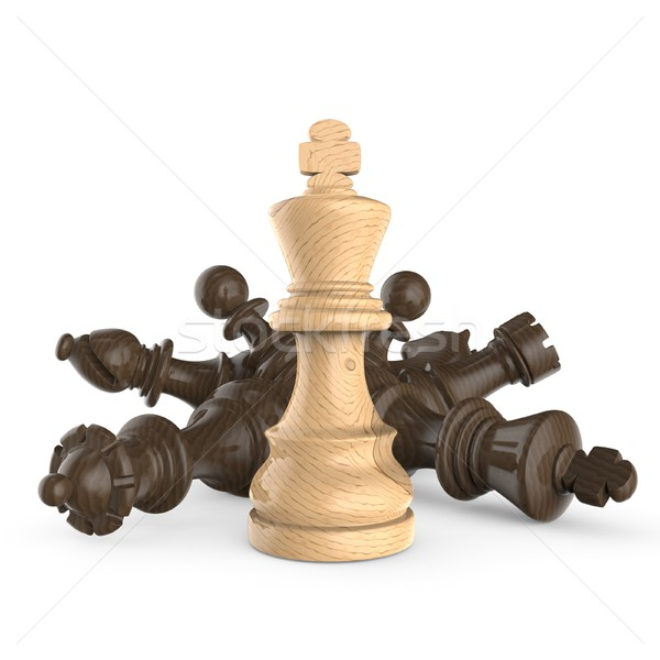 Fehér fából készült király áll fekete sakkfigurák Stock fotó © djmilic