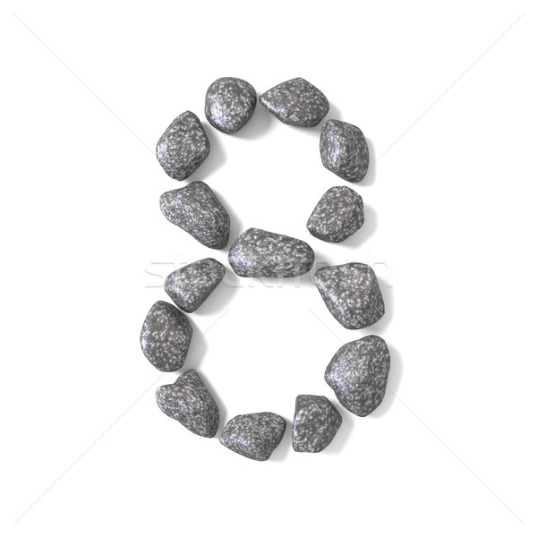 Font made of rocks NUMBER eight 8 3D Stock photo © djmilic