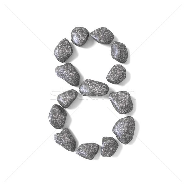 Betűtípus kövek szám nyolc 3D 3d render Stock fotó © djmilic