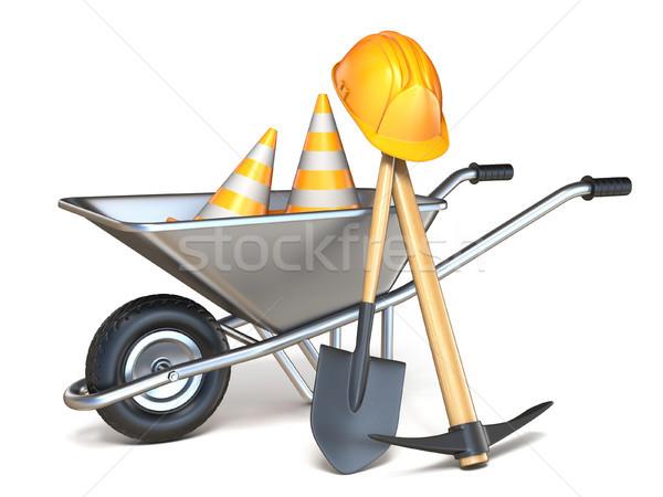 Wheelbarrow with shovel, pickaxe, traffic cones and hardhat 3D Stock photo © djmilic