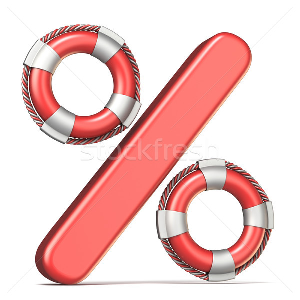 Life buoy percent sign 3D render illustration Stock photo © djmilic