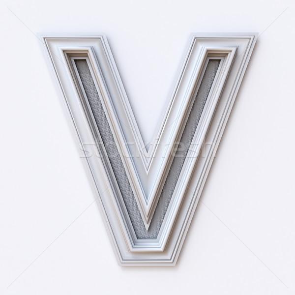 White picture frame font Letter V 3D Stock photo © djmilic