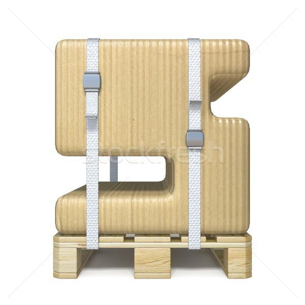 Cardboard box font Number 5 FIVE on wooden pallet 3D Stock photo © djmilic