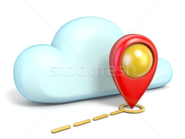 Chmura icon Pokaż 3D odizolowany biały Zdjęcia stock © djmilic