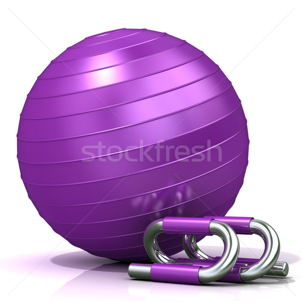 Violet fitness ball and push-up bars Stock photo © djmilic
